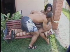 Fellow drills latina tranny outdoors