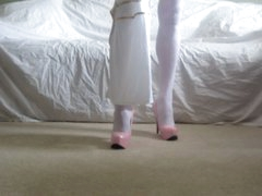 Sexy Slut Gia Moore in White Nylons